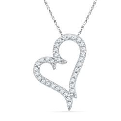 0.20 CTW Diamond Heart Love Pendant 10KT White Gold - REF-13H4M