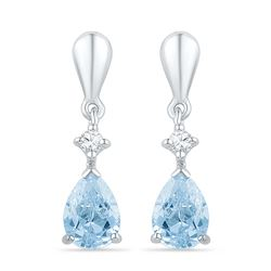 1.72 CTW Created Blue Swiss Topaz & Diamond Dangle Earrings 10KT White Gold - REF-19F4N