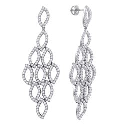 4.76 CTW Diamond Luxury Dangle Screwback Earrings 14KT White Gold - REF-457F3N