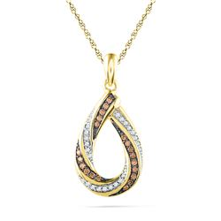 0.25 CTW Cognac-brown Color Diamond Teardrop Pendant 10KT Yellow Gold - REF-19N4F