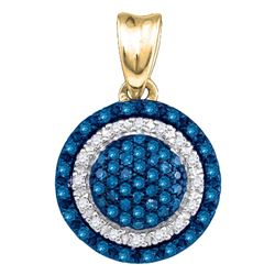 0.27 CTW Blue Color Diamond Circle Cluster Pendant 10KT Yellow Gold - REF-18H2M