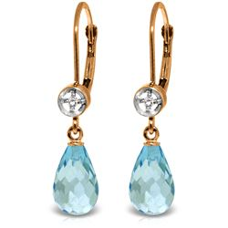 Genuine 4.53 ctw Blue Topaz & Diamond Earrings Jewelry 14KT Rose Gold - REF-29F3Z