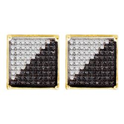 0.33 CTW Mens Black Color Diamond Square Cluster Earrings 10KT Yellow Gold - REF-18Y2X