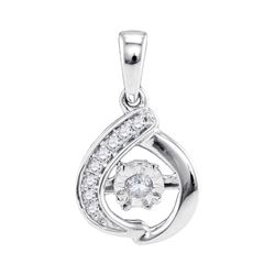 0.10 CTW Diamond Solitaire Moving Twinkle Pendant 10KT White Gold - REF-19X4Y