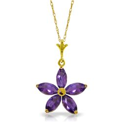 Genuine 1.40 ctw Amethyst Necklace Jewelry 14KT Yellow Gold - REF-25V8W