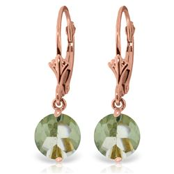 Genuine 3.1 ctw Green Amethyst Earrings Jewelry 14KT Rose Gold - REF-34R3P