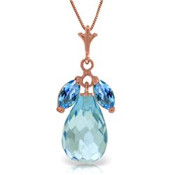 Genuine 7.2 ctw Blue Topaz Necklace Jewelry 14KT Rose Gold - REF-30R5P