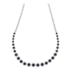 10.22 CTW Black Color Diamond Cluster Necklace 14KT White Gold - REF-701N9F