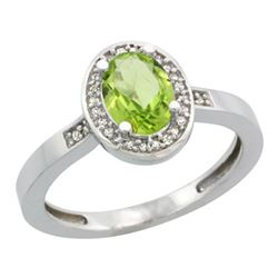 Natural 1.08 ctw Peridot & Diamond Engagement Ring 10K White Gold - REF-25G5M