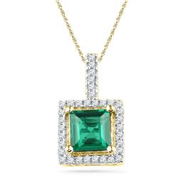 1.37 CTW Cushion Created Emerald Solitaire & Diamond Pendant 10KT Yellow Gold - REF-13H4M