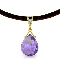 Genuine 6.51 ctw Amethyst & Diamond Necklace Jewelry 14KT Yellow Gold - REF-26Z9N