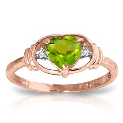 Genuine 0.61 ctw Peridot & Diamond Ring Jewelry 14KT Rose Gold - REF-40N3R