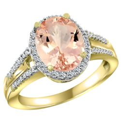 Natural 4.12 ctw morganite & Diamond Engagement Ring 14K Yellow Gold - REF-86R5Z