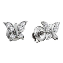 0.10 CTW Diamond Butterfly Bug Screwback Stud Earrings 14KT White Gold - REF-18X2Y