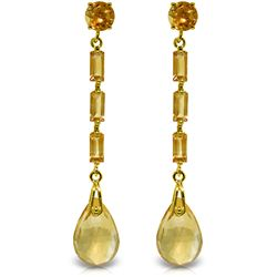 Genuine 8.6 ctw Citrine Earrings Jewelry 14KT Yellow Gold - REF-43F3Z
