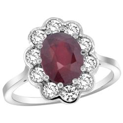 Natural 2.73 ctw Ruby & Diamond Engagement Ring 14K White Gold - REF-83M3H