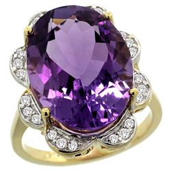 Natural 13.83 ctw amethyst & Diamond Engagement Ring 14K Yellow Gold - REF-124Y4X
