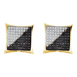 0.10 CTW Mens Black Color Diamond Square Cluster Earrings 10KT Yellow Gold - REF-8X9Y