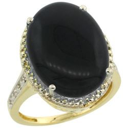 Natural 6.28 ctw Onyx & Diamond Engagement Ring 14K Yellow Gold - REF-58V2F
