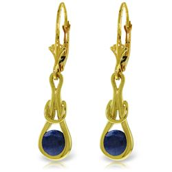 Genuine 1.30 ctw Sapphire Earrings Jewelry 14KT Yellow Gold - REF-54X5M