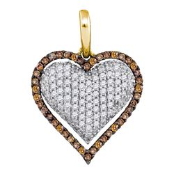 0.88 CTW Cognac-brown Color Diamond Outline Heart Pendant 10KT Yellow Gold - REF-56N9F