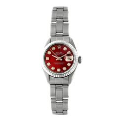 Rolex Pre-owned 26mm Womens Custom Red Stainless Steel - REF-360R4M