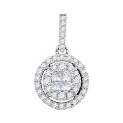 0.50 CTWPrincess Diamond Soleil Framed Cluster Pendant 14KT White Gold - REF-48Y7X