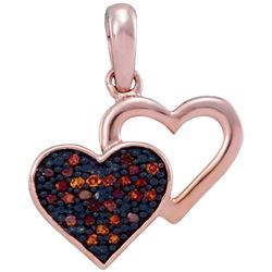 0.08 CTW Red Color Diamond Heart Love Pendant 10KT Rose Gold - REF-10F5N