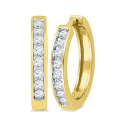 0.50 CTWDiamond Hoop Earrings 10KT Yellow Gold - REF-49K5W