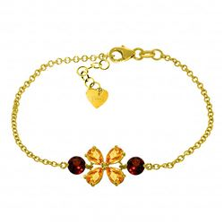 Genuine 3.15 ctw Citrine & Garnet Bracelet Jewelry 14KT Yellow Gold - REF-56V4W