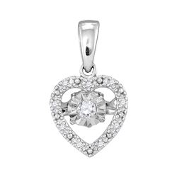 0.08 CTW Diamond Solitaire Heart Pendant 10KT White Gold - REF-14K9W
