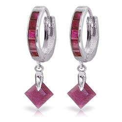 Genuine 3.7 ctw Ruby Earrings Jewelry 14KT White Gold - REF-60M3T