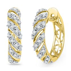 0.16 CTW Diamond Diagonal Hoop Earrings 10KT Yellow Gold - REF-22F4N