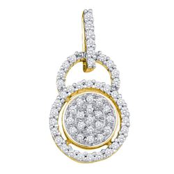 0.20 CTW Diamond Circle Cluster Pendant 10KT Yellow Gold - REF-19W4K