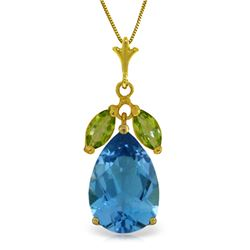 Genuine 6.5 ctw Blue Topaz & Peridot Necklace Jewelry 14KT Yellow Gold - REF-38F2Z