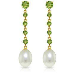 Genuine 10 ctw Peridot & Pearl Earrings Jewelry 14KT White Gold - REF-32R4P