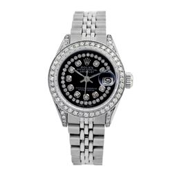 Rolex Pre-owned 26mm Womens Custom Black String Diamonds Stainless Steel - REF-510N3H
