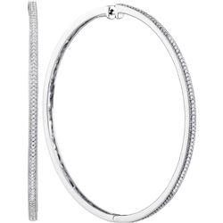 0.50 CTWDiamond Large Slender Milgrain Hoop Earrings 10KT White Gold - REF-63K8W
