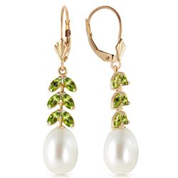 Genuine 9.2 ctw Pearl & Peridot Earrings Jewelry 14KT Yellow Gold - REF-45H8X