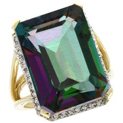 Natural 15.06 ctw Mystic-topaz & Diamond Engagement Ring 10K Yellow Gold - REF-64G3M