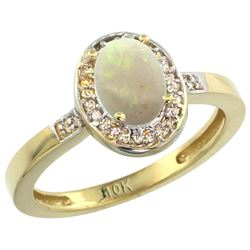 Natural 0.54 ctw Opal & Diamond Engagement Ring 14K Yellow Gold - REF-30V9F