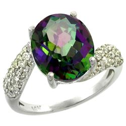 Natural 6.45 ctw mystic-topaz & Diamond Engagement Ring 14K White Gold - REF-54X3A
