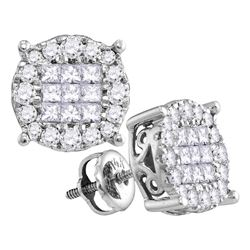 0.25 CTW Princess Diamond Soleil Cluster Stud Earrings 14KT White Gold - REF-33M7H