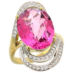 Natural 11.46 ctw Pink-topaz & Diamond Engagement Ring 14K Yellow Gold - REF-86G6M