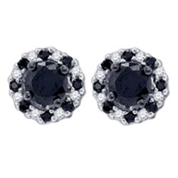 1 CTW Black Color Diamond Stud Earrings 10KT Yellow Gold - REF-34Y4X