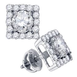 1.75 CTW Diamond Square Solitaire Stud Earrings 14KT White Gold - REF-299W9K