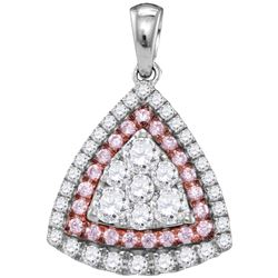 0.98 CTW Pink Diamond Triangle Cluster Pendant 14KT White Gold - REF-134W9K
