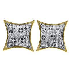 0.25 CTW Diamond Square Kite Cluster Earrings 10KT Yellow Gold - REF-20H3M