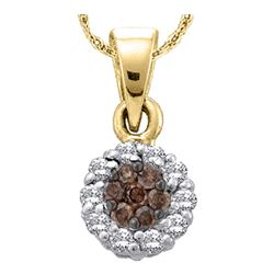 0.93 CTW Cognac-brown Color Diamond Flower Cluster Pendant 14k Yellow Gold - REF-52F4N