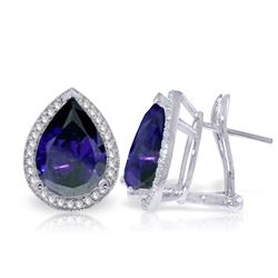 Genuine 10.52 ctw Sapphire & Diamond Earrings Jewelry 14KT White Gold - REF-173T5A